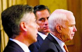 The feud between distant cousins Jon Huntsman (left) and Mitt Romney (center) was about to heal itself in 2008 when Huntsman jumped ship and supported Senator John McCain (right)who, in turn, selected Sarah Palin as his running mate rather than the expected choice: Mitt Romney.