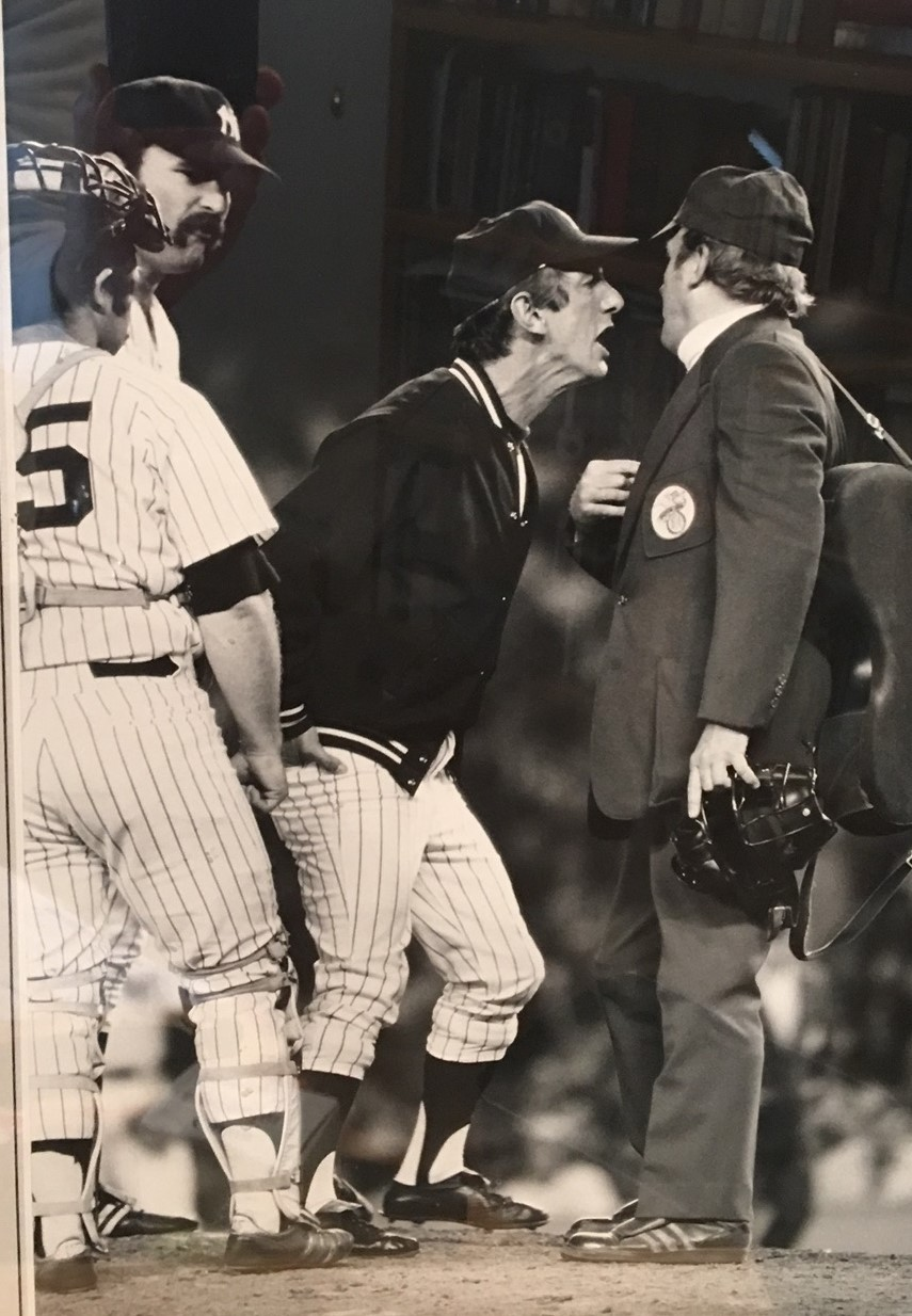 Billy Martin's temper gets the best of him as he takes on an umpire in Yankee Stadium.  Photo by Frank White/People Magazine