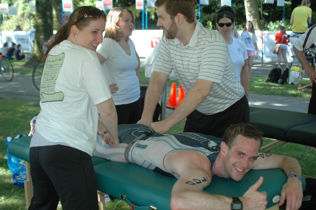 Post-race massage at TriRock