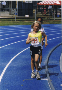 One of my first race walk races, a 1500m, when I 8 years old.