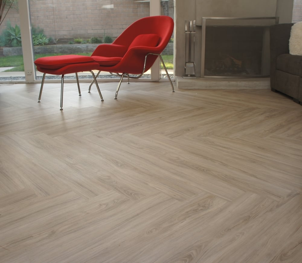 Luxury Vinyl Plank (LVT) that looks like wood, Riverside, CA. laid in a herringbone pattern