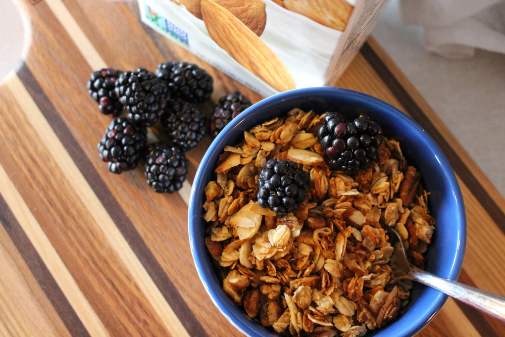 This granola is great with some vanilla almond milk or unsweetened yogurt!