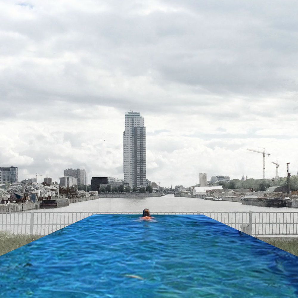 A first quick collage illustrating the idea of a pool with a view on the harbor.