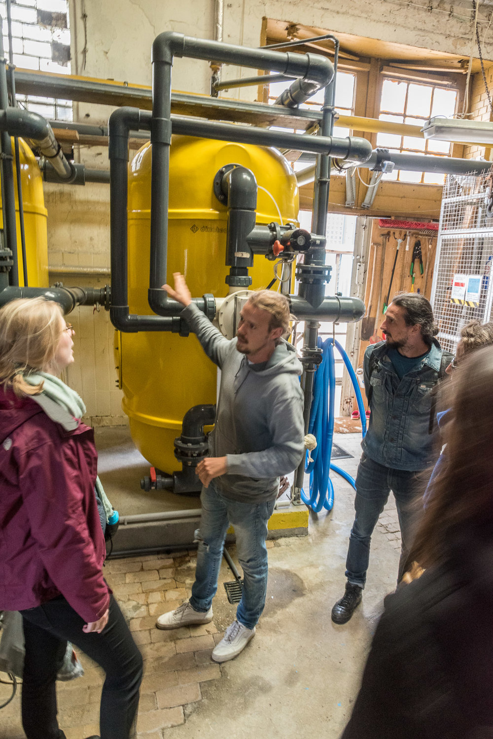 First we had a tour to the technical spaces. In yellow the huge sand filters.