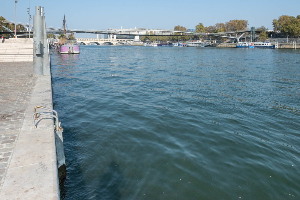 A ladder into the Seine river. What else do you need for swimming?