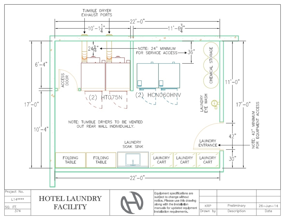 Hotel Laundry Facility - Sample Layout