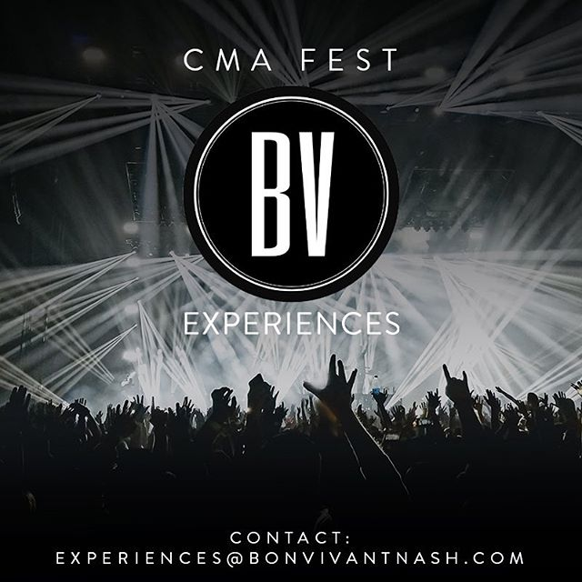 Ready for CMA Fest? Exclusive Tickets are selling fast, email us ASAP for availability! ⁃VIP CMT AWARD SHOW TICKETS ⁃VIP CMA FEST CONCERT EXPERIENCES ⁃EXCLUSIVE ARTIST MEET AND GREETS  Contact: experiences@bonvivantnashville.com