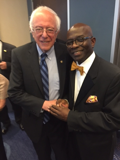Senator Bernie Sanders with Armstrong Williams at the White House Correspondents dinner. (Courtesy: Armstrong Williams)