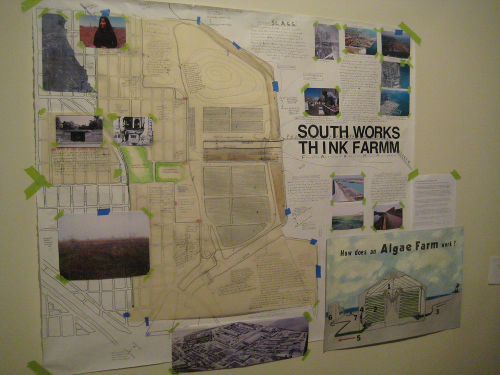 South Works Think FARMM , ongoing research project for former US Steel Southworks (Lakeside) site as giant algae farm and building recycling industry center, installation view at Versionfest 9, 2009 (with Ilana Percher)