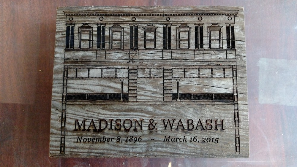limited edition engraving on salvaged platform decking from Madison & Wabash elevated CTA station, 2015 (with Rebuilding Exchange)