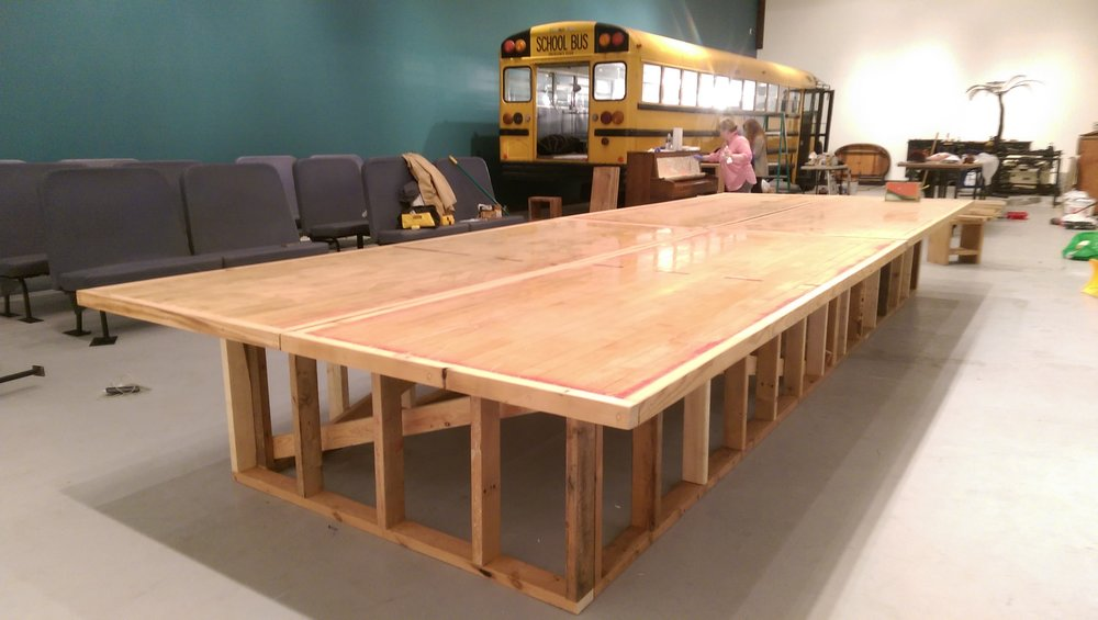 gymnasium flooring stage/table at Hyde Park Art Center