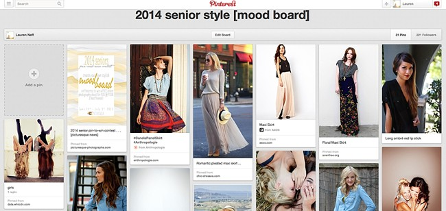 sample senior style mood board