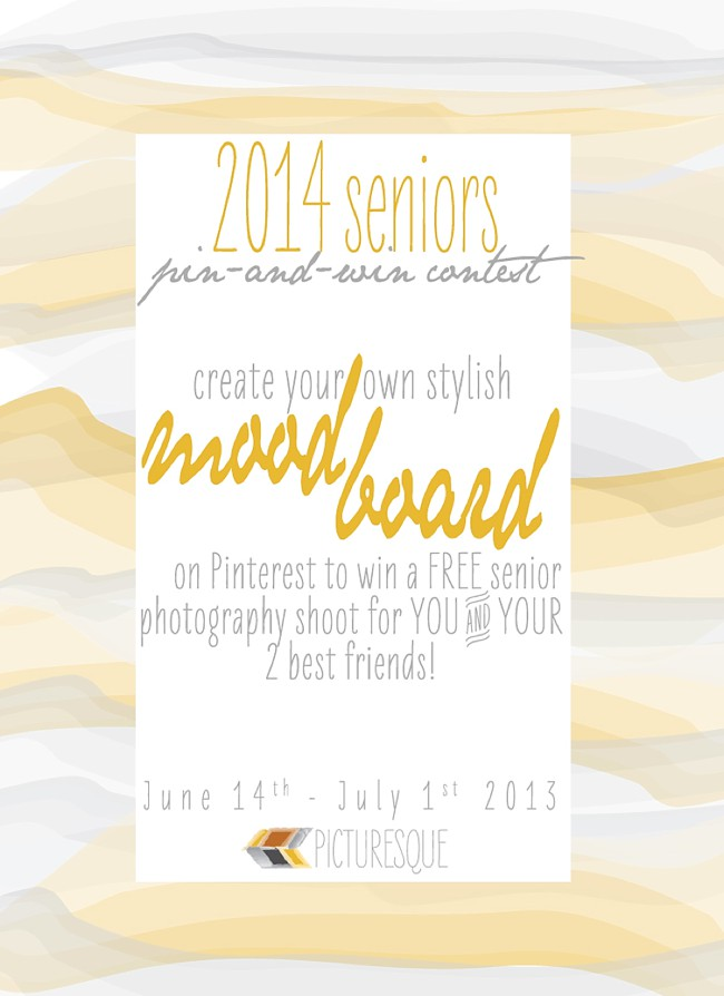enter to pin a free senior photography session with Picturesque pin and win contest
