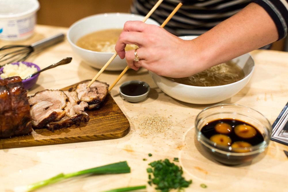serving chasu pork
