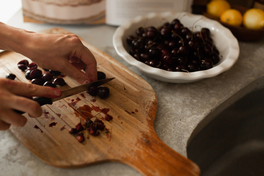Preparing Cherries for Clafoutis