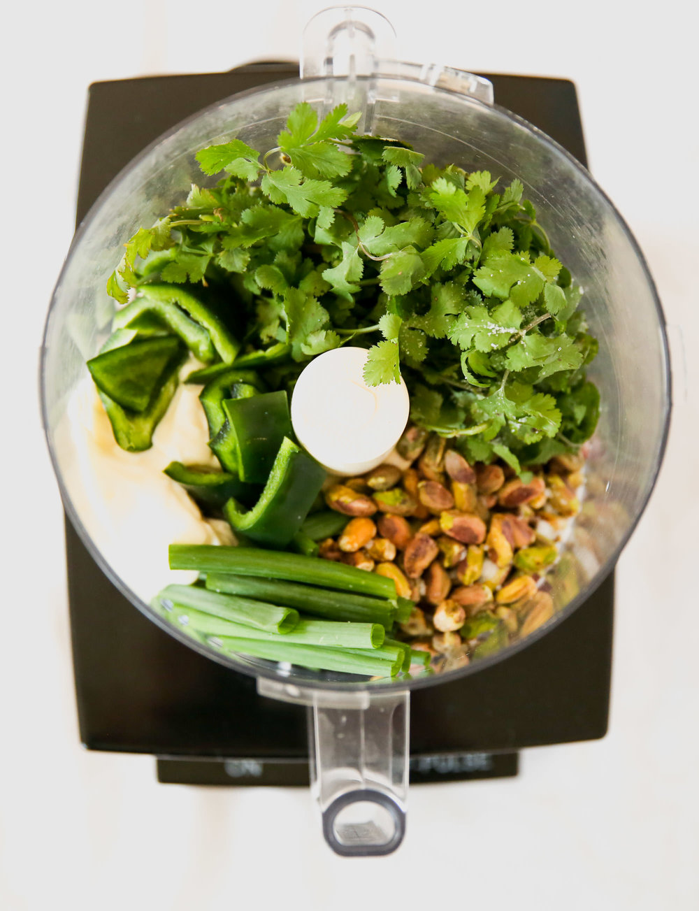 Ingredients for Green Goddess Dressing In food Processor