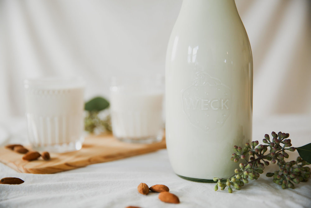 Almond Milk In Glass Container
