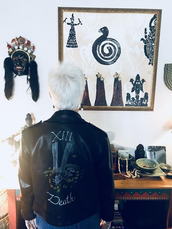 Vicki Noble in her home in Santa Cruz, wearing her Dior Motherpeace death leather jacket.