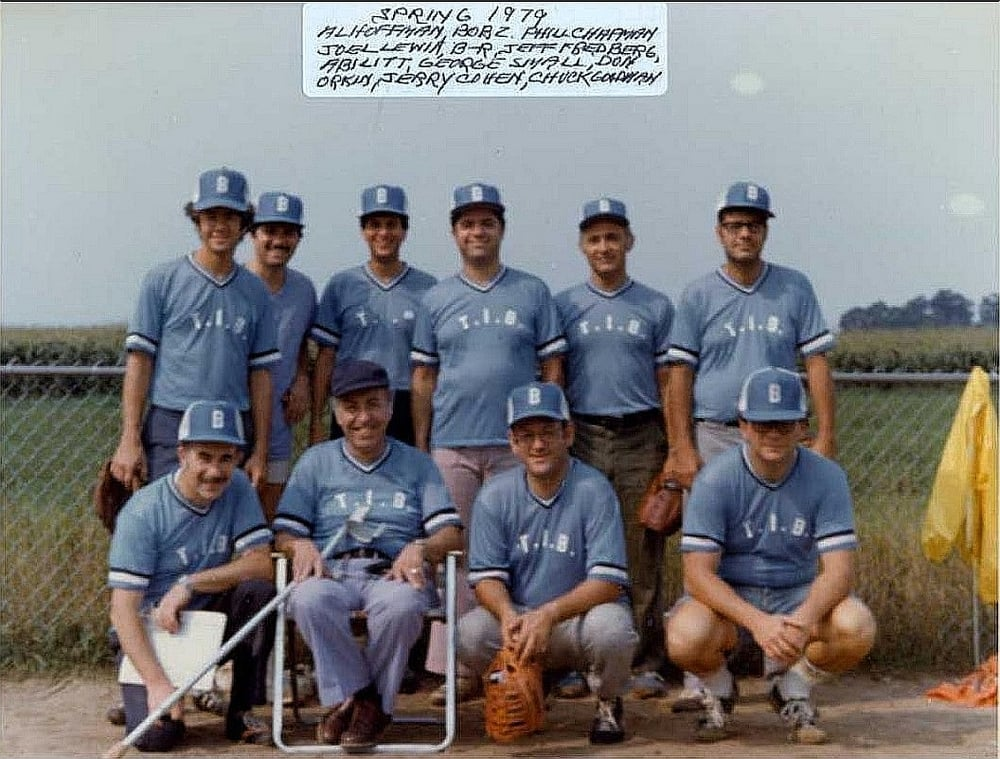 The 1979 Temple Israel Brotherhood Softball Team Bob, playing in his 50's, was a pitcher on the team.