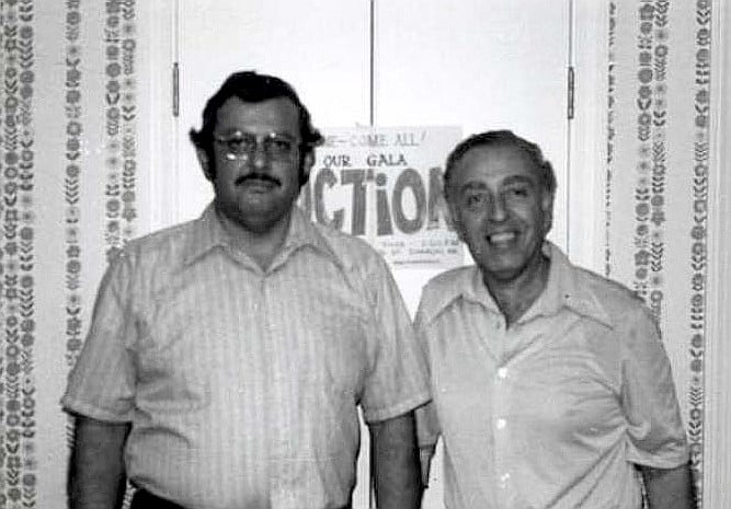 Bob at the first Brotherhood Auction in 1978  with Sherwin Goodblatt