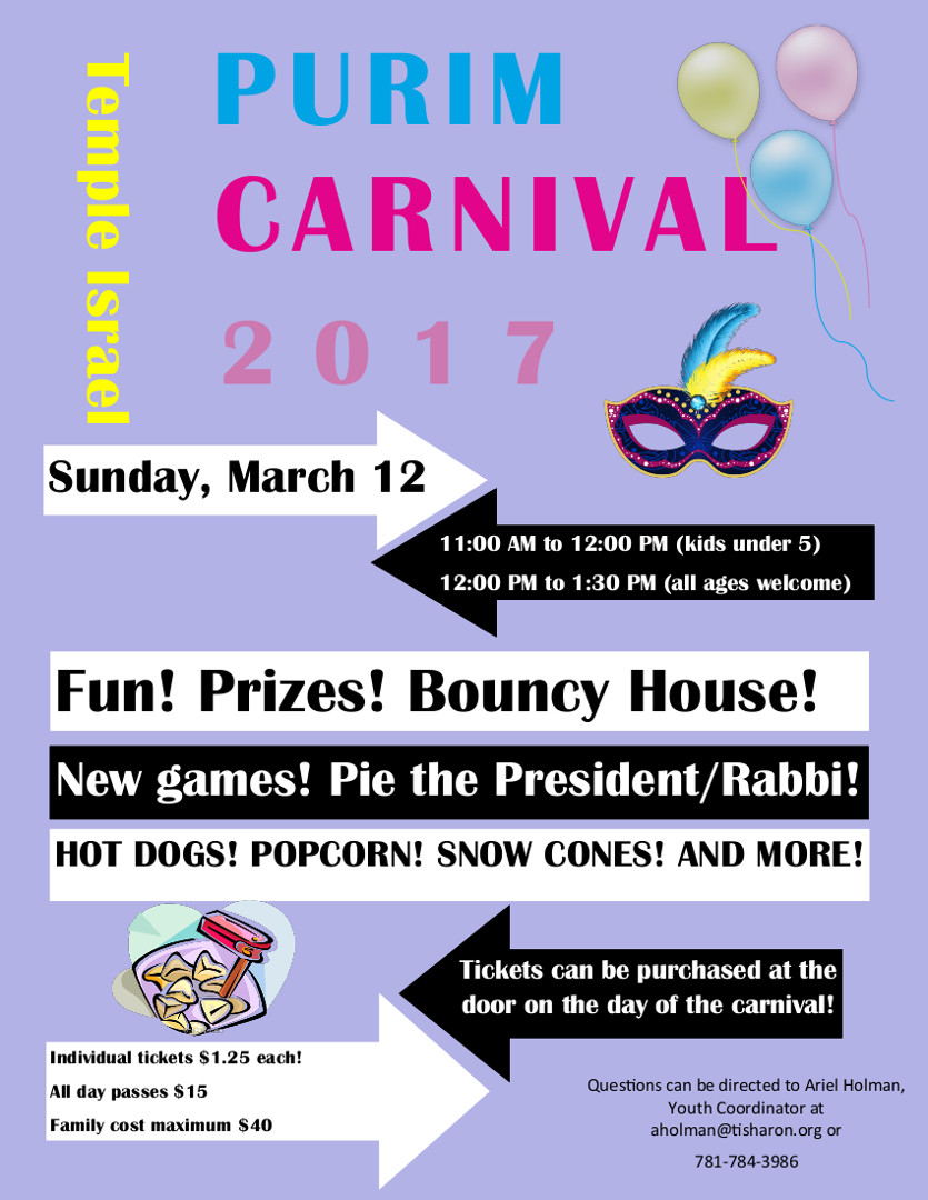 Purim Carnival Pass March 12 Temple Israel Of Sharon