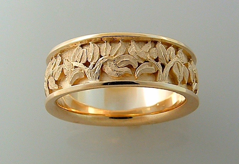 #R281 Wide Textured Leaves Band