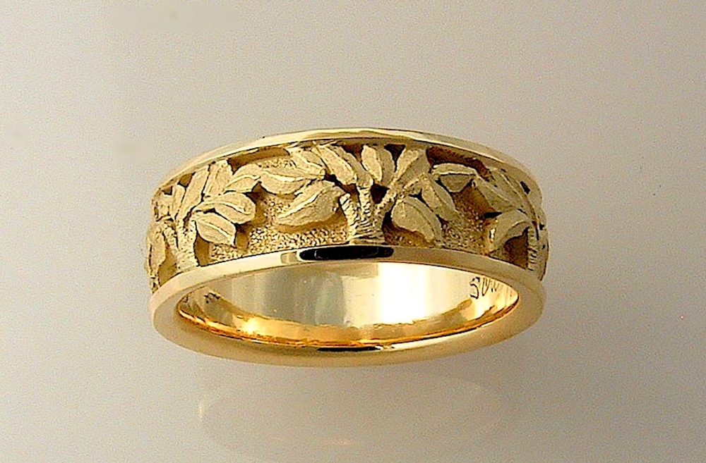 #F282 Narrow Textured Leaves Band