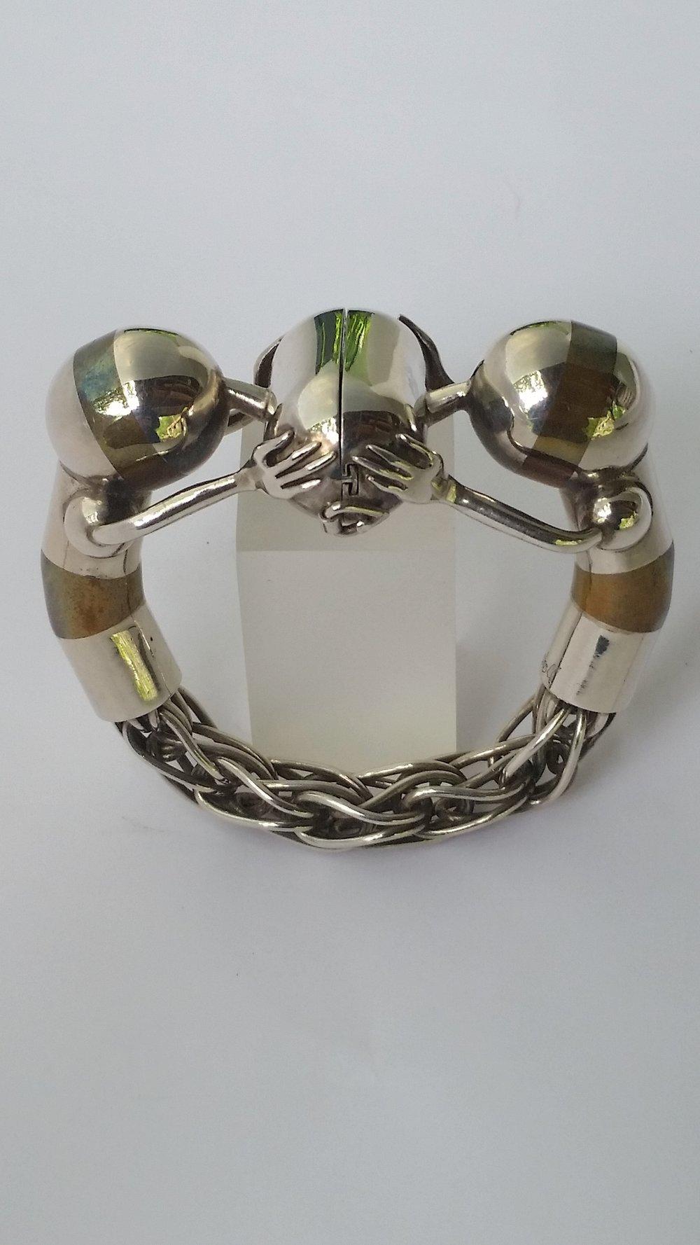 #25a.jpg bracelet, sterling, bronze .jpg