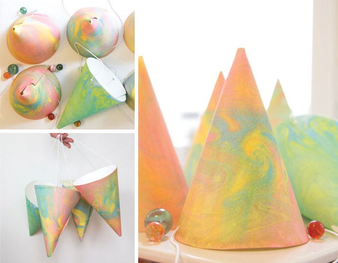 Marbleized Party Hats