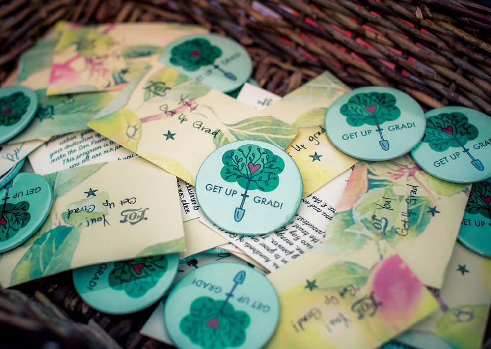 Buttons gifted to graduates of the garden's Get Up program