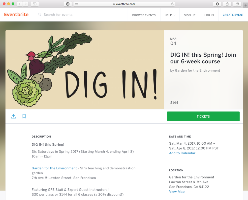 A banner also featured on the Dig In! Eventbrite page