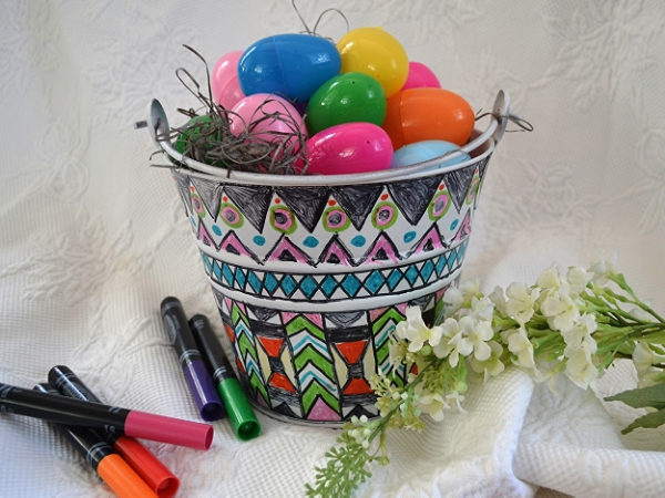 DIY Coloring Book Style-- Metal Easter Egg Hunting Basket by Joanne Palmisano