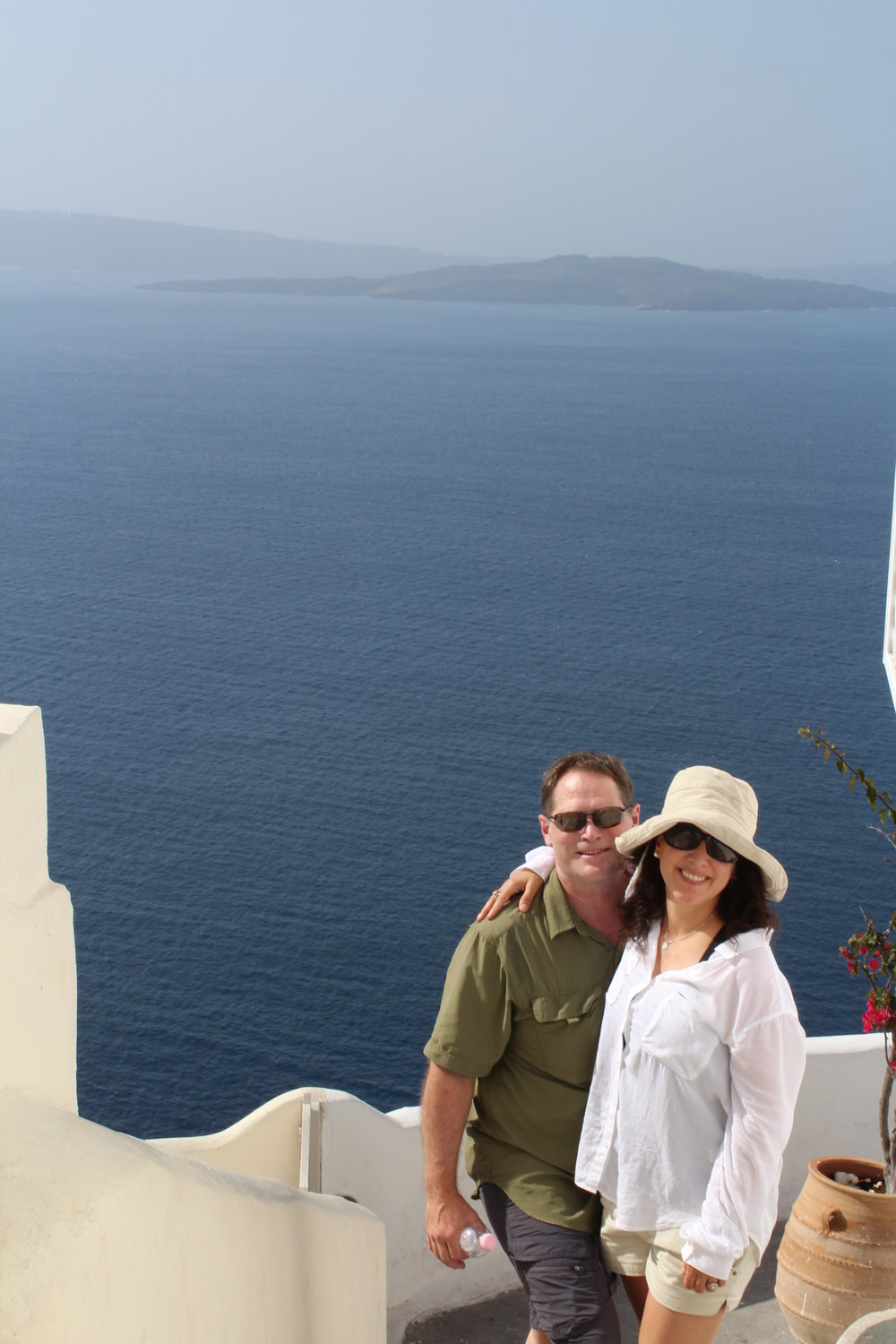 I know, you guys rarely get to see my guy.  Here we are in Santorini!  :)