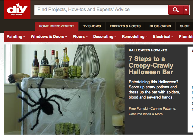 Instant Halloween Bar! Just use an old kitchen cart. Project for DIY NETWORK by Joanne Palmisano