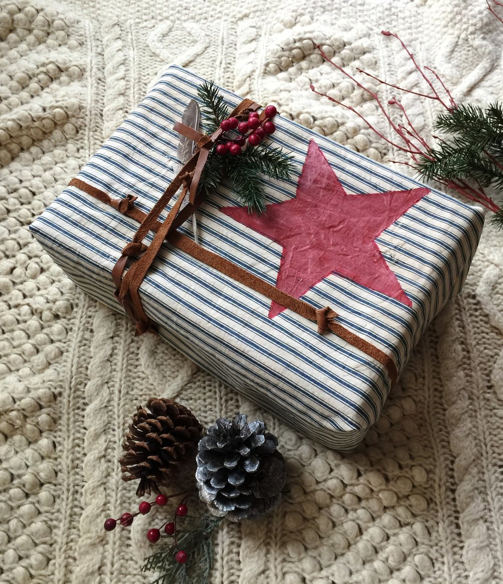 Make your own gift wrapping paper out of vintage fabric— part of 14 DIY Red Country Holiday DIY ideas on  Great American Country