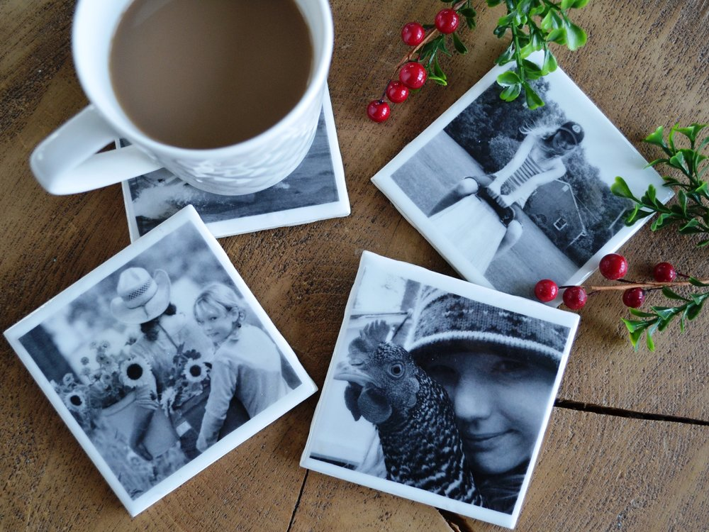 Family Photo Coasters… recycled tile, two part epoxy and some black and white copy prints. Here are pictures of Gabrielle and I… :) Happy Holidays!