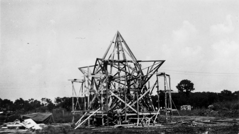 Immediately after the Battle of San Jacinto, the land—then privately owned—commanded respect from all who walked on its soil. The Texas Veterans Association began planning a formal monument, and the state finally received funding to purchase land in the 1890s. Building the monument was hard work. In the 57 hours that the foundation was poured, the builders consumed 3,800 sandwiches and 5,700 cups of coffee. A full-scale model of the 34 foot, 220 ton star was built to test its assembly before the star was constructed at the top of the monument. Despite the scale and speed of the project, not a single life was lost during the monument's construction. Since its completion in 1939, the monument has been a symbol of community pride, sacrifice and honor.