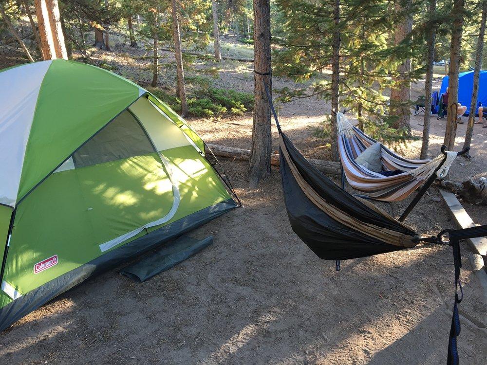 Our campsite at Estes Park, East portal.