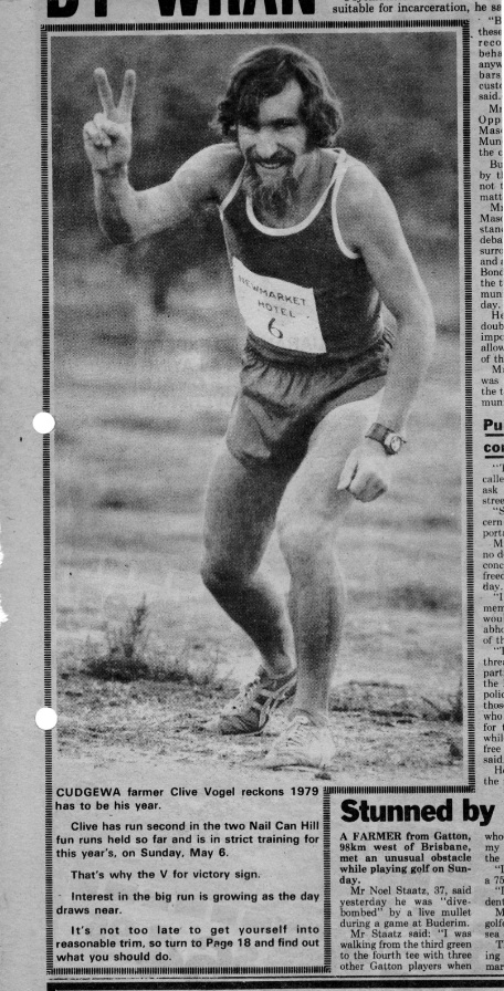 1979. Clive had run 2nd place in the historic 11.3km     Nail Can Hill race in both its inaugural and 2nd year.