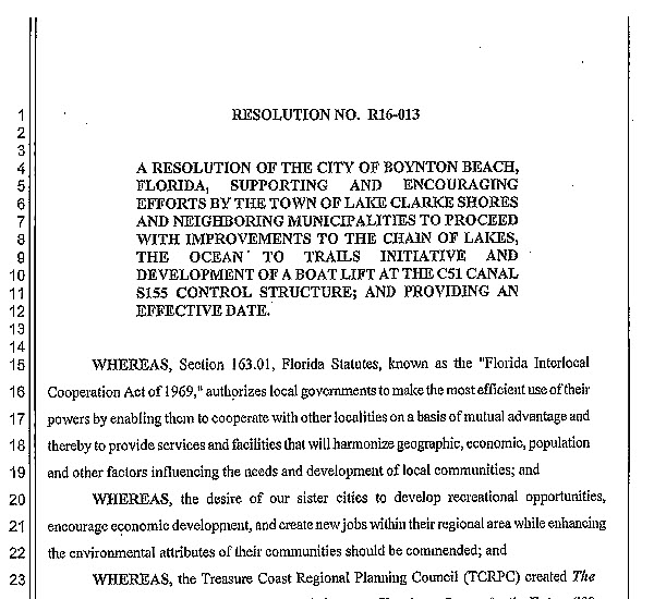 Boynton Beach Resolution R16-013 (PDF)