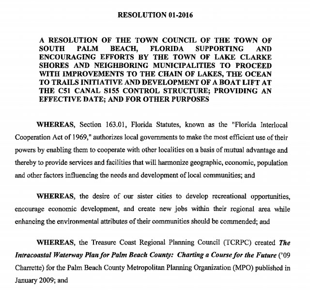 South Palm Beach Resolution 01-2016 (PDF)