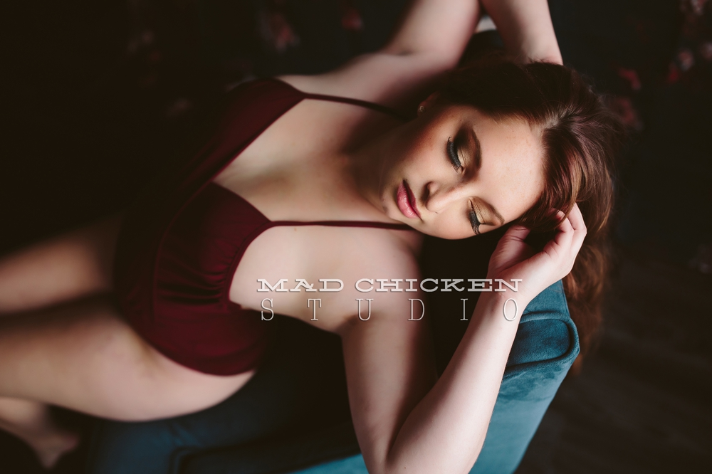 Duluth Boudoir Photography | Mad Chicken Studio | Tia photographed by Jes Hayes in Duluth, MN | red bodysuit