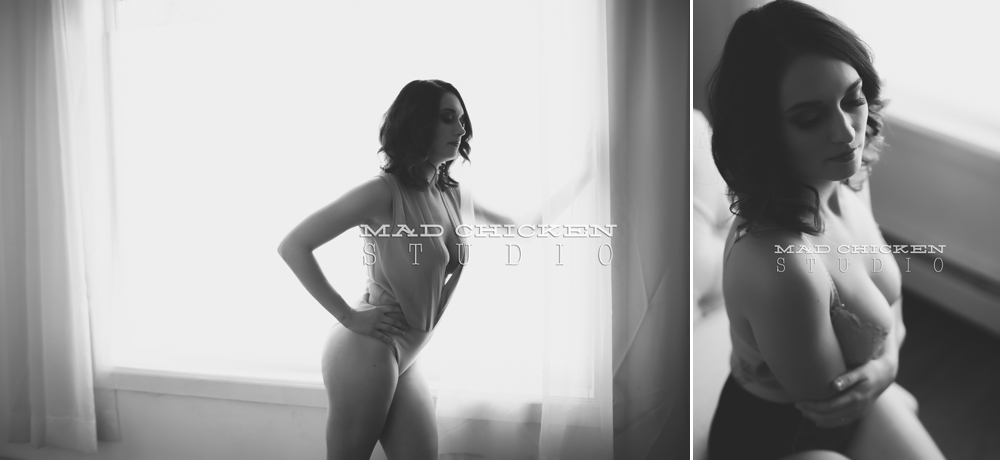 Alisha wearing H&M lingerie for her Duluth Boudoir Photography session | photographed by jes hayes of Mad Chicken Studio