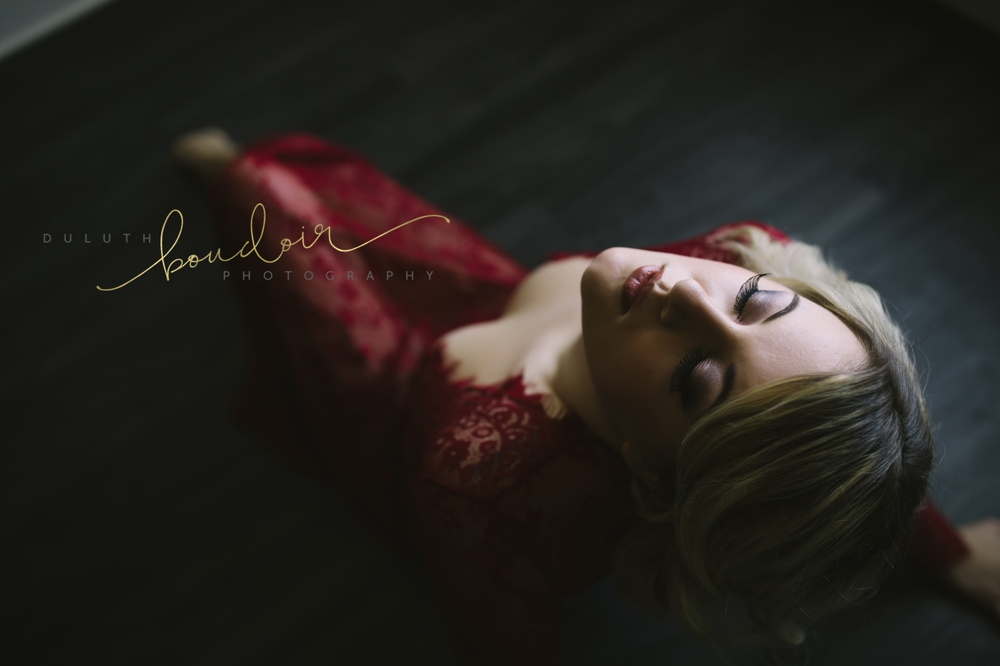 Red lace gown lingerie from Adore Me for boudoir photography session in Duluth, MN