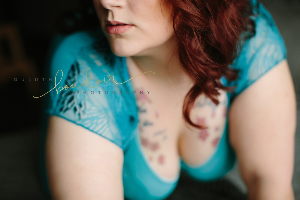 boudoir photography session in Duluth, MN of Kylie in a black bodysuit