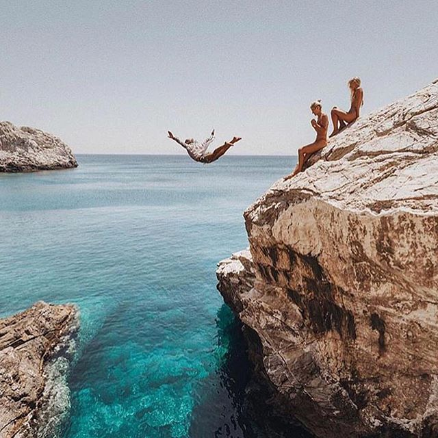 Do something insane. . . . #adventure #cliff #action #jumping #water #greece #flying #college #greeklife #frat #tfm