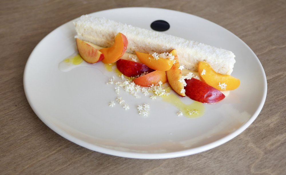 VANILLA CAKE, SUMMER STONE FRUITS, ELDERFLOWER, LIME