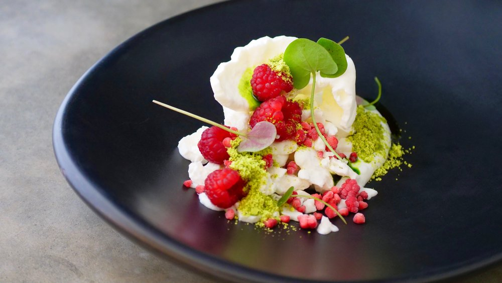 FROZEN SHEEPS YOGHURT, RASPBERRY, PISATCHIO, TARRAGON & SORREL