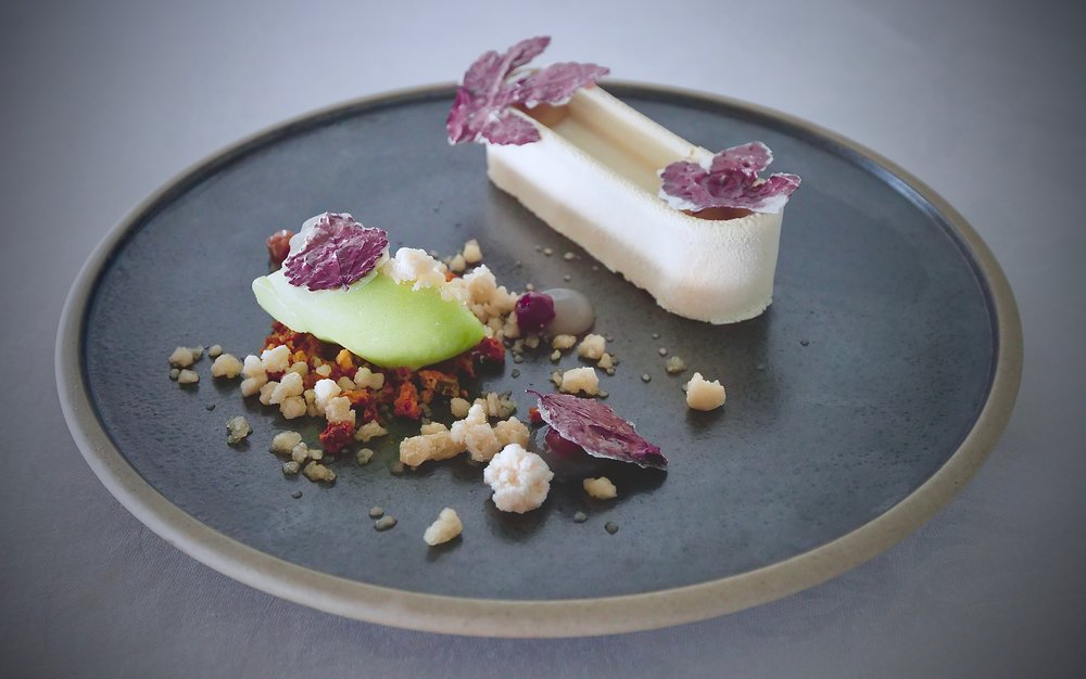 TEXTURES OF APPLE, BAKED APPLE MOUSSE, GREEN APPLE SORBET, FROZEN CIDER, CRANBERRY HIBISCUS.
