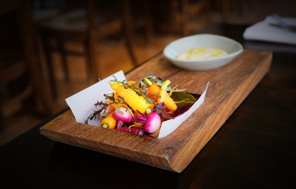 PICKLED PETITE BOUCHE BABY VEGETABLES, RED ELK, AMARANTH, SALAD CREAM.